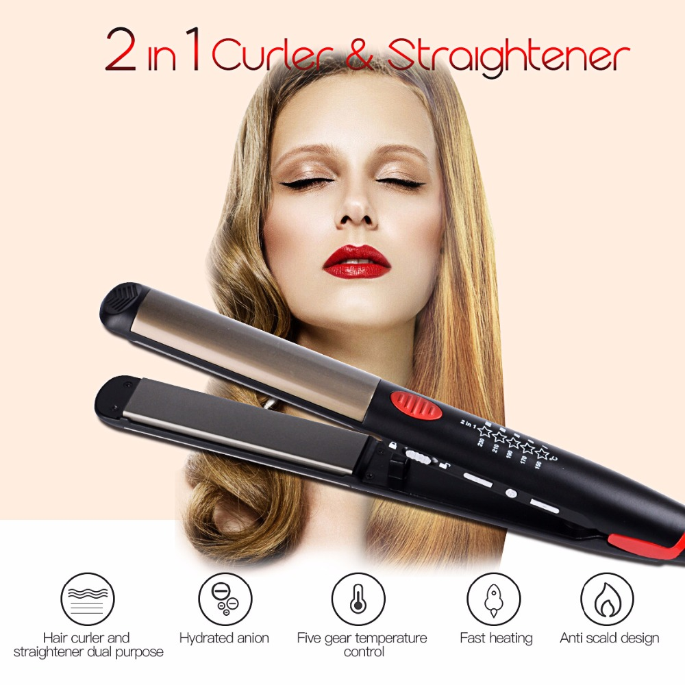 Hair straightener Comb Hair Curler Temperature Adjustment Curling iron LED Digital Flat Iron Curler Styling Tools Dry &Wet hair straightener led display wet