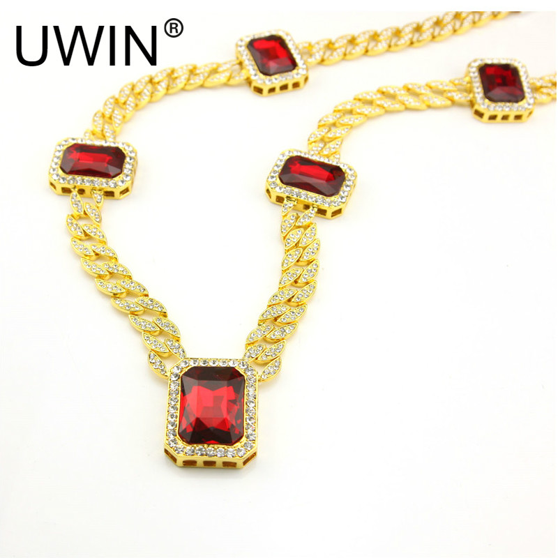 UWIN Men hip hop Rock Jewelry Gold Silve Color 5pcs Square Red Gem Crystal 30 Full