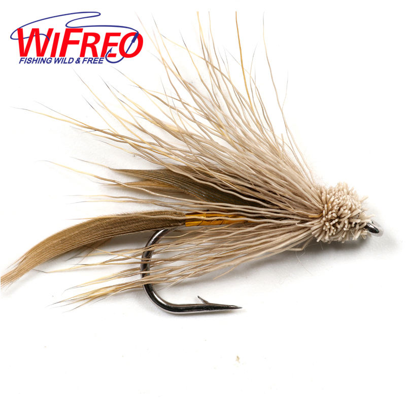 Wifreo 10PCS Brown Muddler Minnow Trout Fly Fishing Streamer Flies Size # 6 with Free Box Package wifreo 10pcs 6 fly fishing insect black orange egg sucking leech wooly streamer fly trout fly fishing baits marabou flashabou