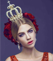 alloy rhinestone gold cross decorated Bridal hair jewelry Baroque crown tiara queen headpiece wholesale high end