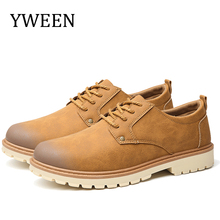 YWEEN New Casual Shoes Men Spring Autumn Hard-Wearing Solid Lace-up Man Fashion Flat Height Increasing Male