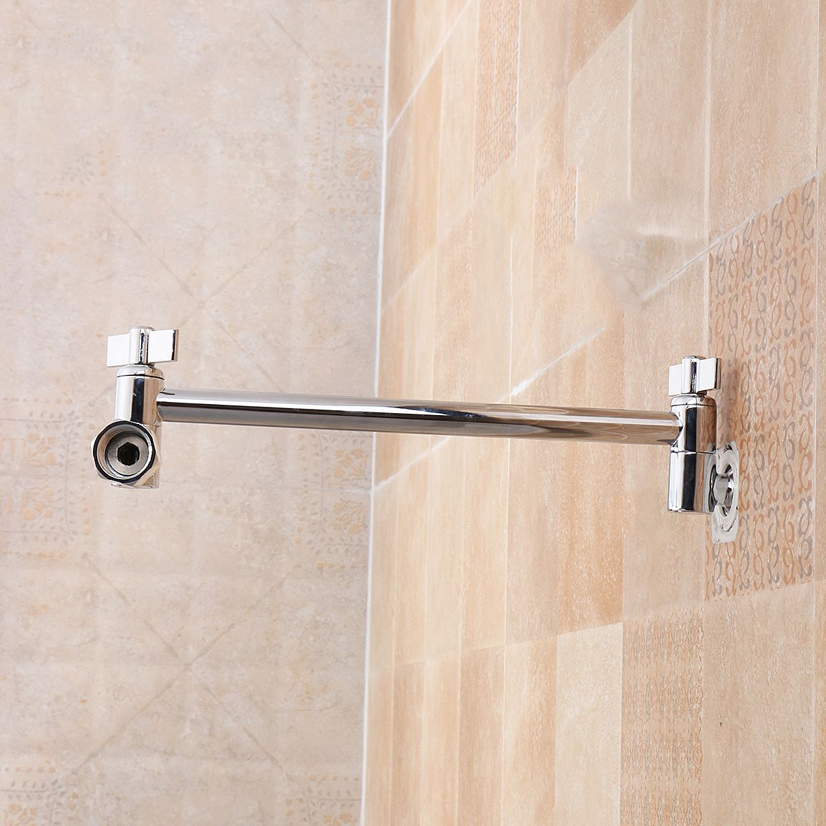 9 Inch Brass Chrome Shower Head Adjustable Height Arm Wall Mount