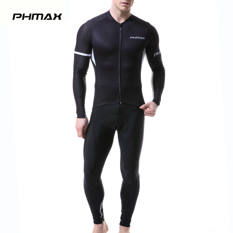 PHMAX 2019 Pro Cycling Jersey Set Long Sleeve Spring MTB Bike Clothes Racing Bicycle Clothing Ropa