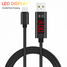 Micro USB LED Cable Voltage Quick Charge Cable For Android Micro USB Charging Nylon Braided USB Cable Data Sync For Samsung