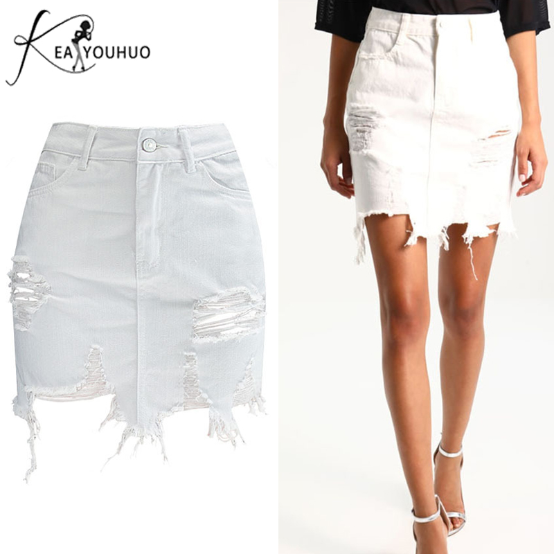 2020 Fashion Women Skirt Sexy Pencil Skirts For Women Versatile High Waist Ripped Denim Skirts Women Casual Tassel White Skirt