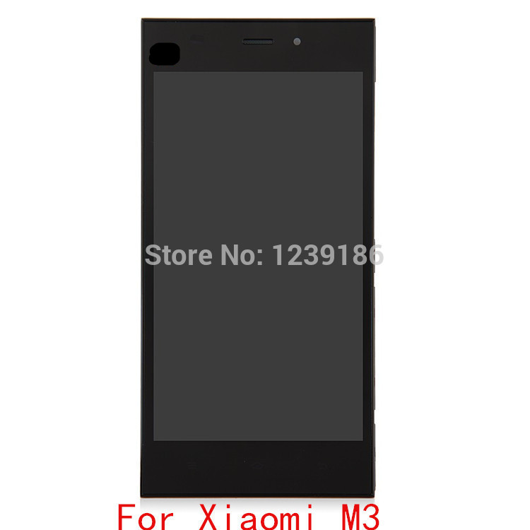 ФОТО For Xiaomi M3 LCD display + touch screen glass panel With frames For Xiao mi MI3 WCDMA Quad core Smartphone Black Free shipping