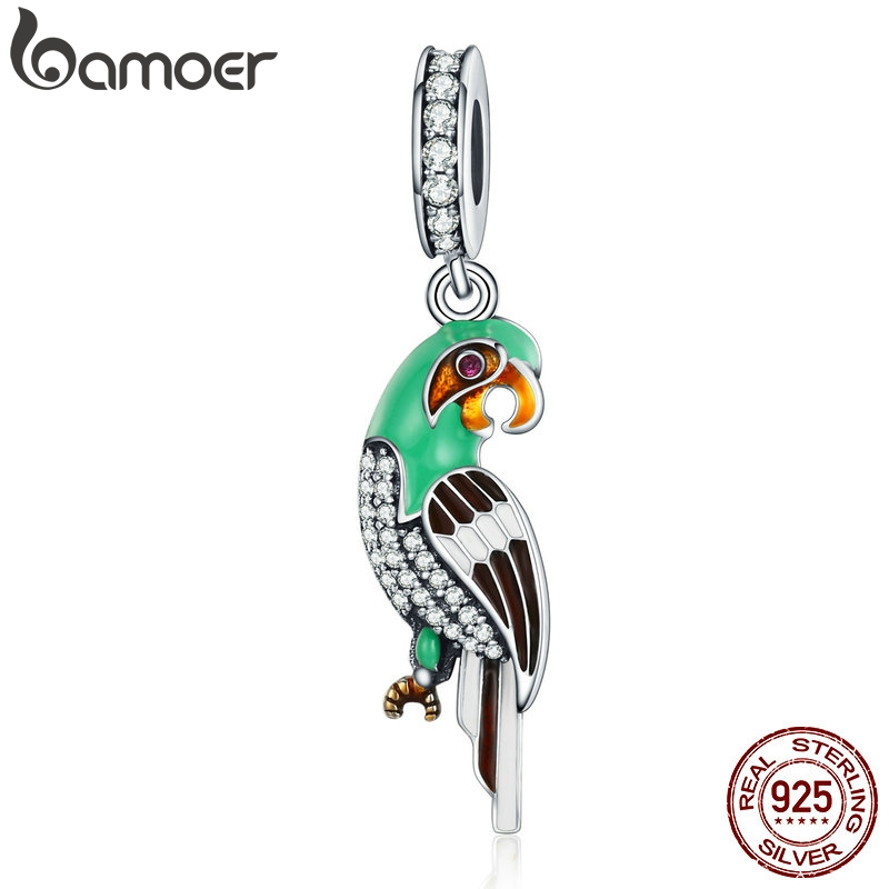 BAMOER Genuine 925 Sterling Silver Adorable Parrot , Colourful Enamel Dazzling CZ Charms fit Women Bracelets Jewelry S925 SCC218BAMOER Genuine 925 Sterling Silver Adorable Parrot , Colourful Enamel Dazzling CZ Charms fit Women Bracelets Jewelry S925 SCC218