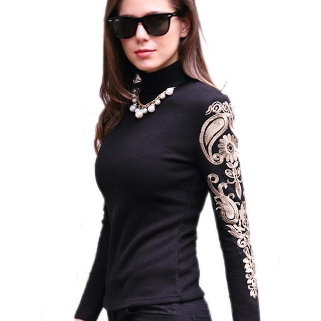 31be5ecfd08 3XL Women Lace Shirts Long Sleeve Vintage Gold Embroidery Lace Blouse For  Female Tops Autumn Winter