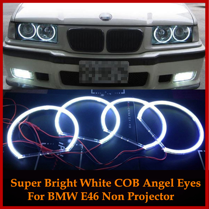 For Bmw E46 1999-2004 Non projector 4x HID Style LED COB Angel Eyes Halo Rings Kit lights 131mm+146mm Super Bright Car Styling car styling 131mm 4 led cob angel eyes halo rings kit for bmw e46 e39 e38 e36 3 5 7 series daytime runing lights drl retrofit