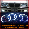 For Bmw E46 1999-2004 Non projector 4x HID Style LED COB Angel Eyes Halo Rings Kit lights 131mm+146mm Super Bright Car Styling