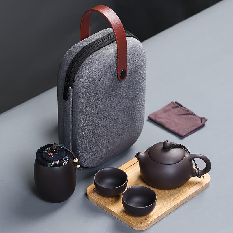 Ensembles de thé de voyage chinois Portable en céramique os chine thé à thé Gaiwan tasse à thé en porcelaine la cérémonie de thé en plein air Kung Fu