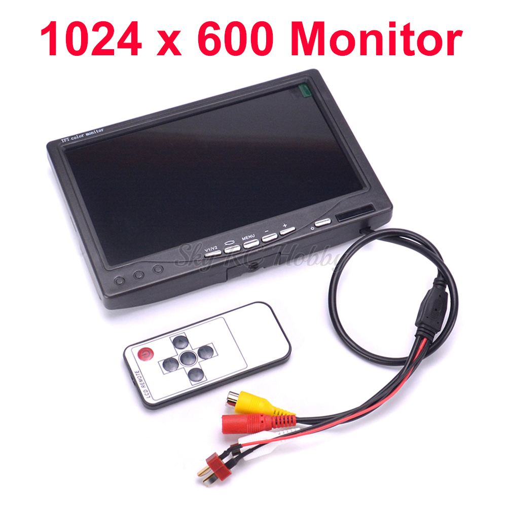 NEW 7 inch LCD TFT 1024 x 600 Monitor with T plug Screen FPV Monitor Photography Ground Station For RC Parts QAV-R 220mm QAV-X