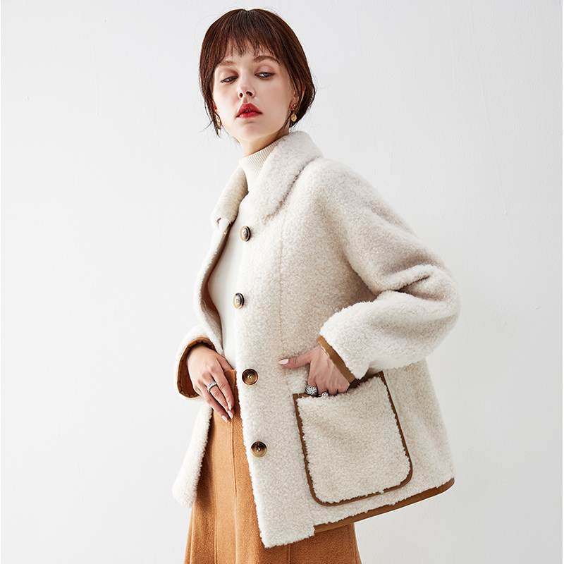 100% Wool Jacket Autumn Winter Coat Women Clothes 2019 Real Fur Coat Streetwear Korean Vintage Women Tops Sheep Shealring ZT3347
