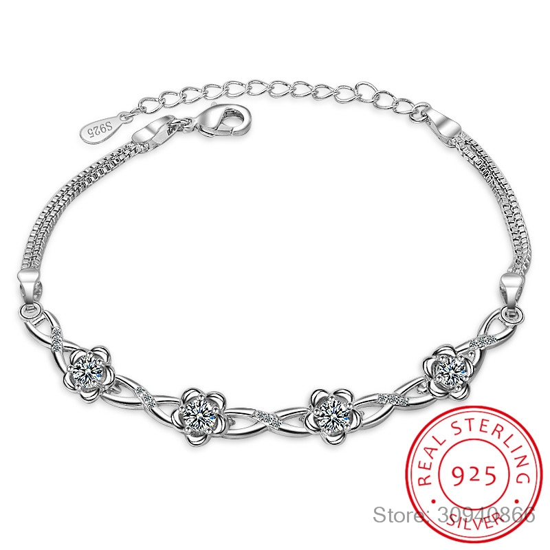 925 Sterling Silver Bracelets Luxury Clear White Zirconia Plum Blossom Flower Bracelets & Bangles For Women Pulseira Es Prata