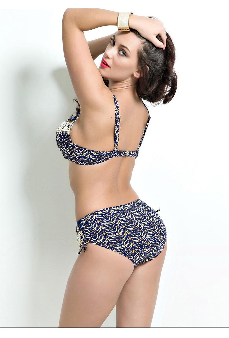 17 Women Plus Size Bikini Set Brazilian Push Up Women High Waist Swimwear Big Chest Swimsuit Plus Size Print Swimsuit 5XL 10