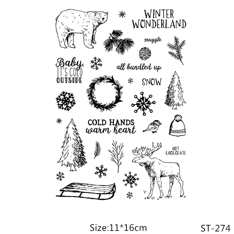 AZSG Winter Christmas Bear Deer Sled Clear Stamps/Seals For DIY Scrapbooking/Card Making/Album Decorative Silicone Stamp Crafts