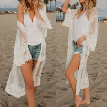 Women Lace Cardigan Kaftan Shawl Coat Beach Wear Swimwear Cover Up Blouse Tops Cape Pareo 2019 Sexy Bathing Suit