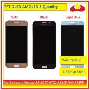Image 1 - الأصلي لسامسونج غالاكسي A7 2017 A720 A720F SM A720F شاشة LCD مع شاشة تعمل باللمس محول الأرقام لوحة رصد الجمعية كاملة