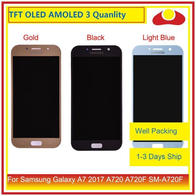 الأصلي لسامسونج غالاكسي A7 2017 A720 A720F SM A720F شاشة LCD مع شاشة تعمل باللمس محول الأرقام لوحة رصد الجمعية كاملة