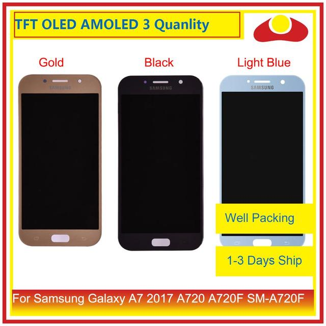 ORIGINAL For Samsung Galaxy A7 2017 A720 A720F SM A720F LCD Display With Touch Screen Digitizer Panel Monitor Assembly Complete