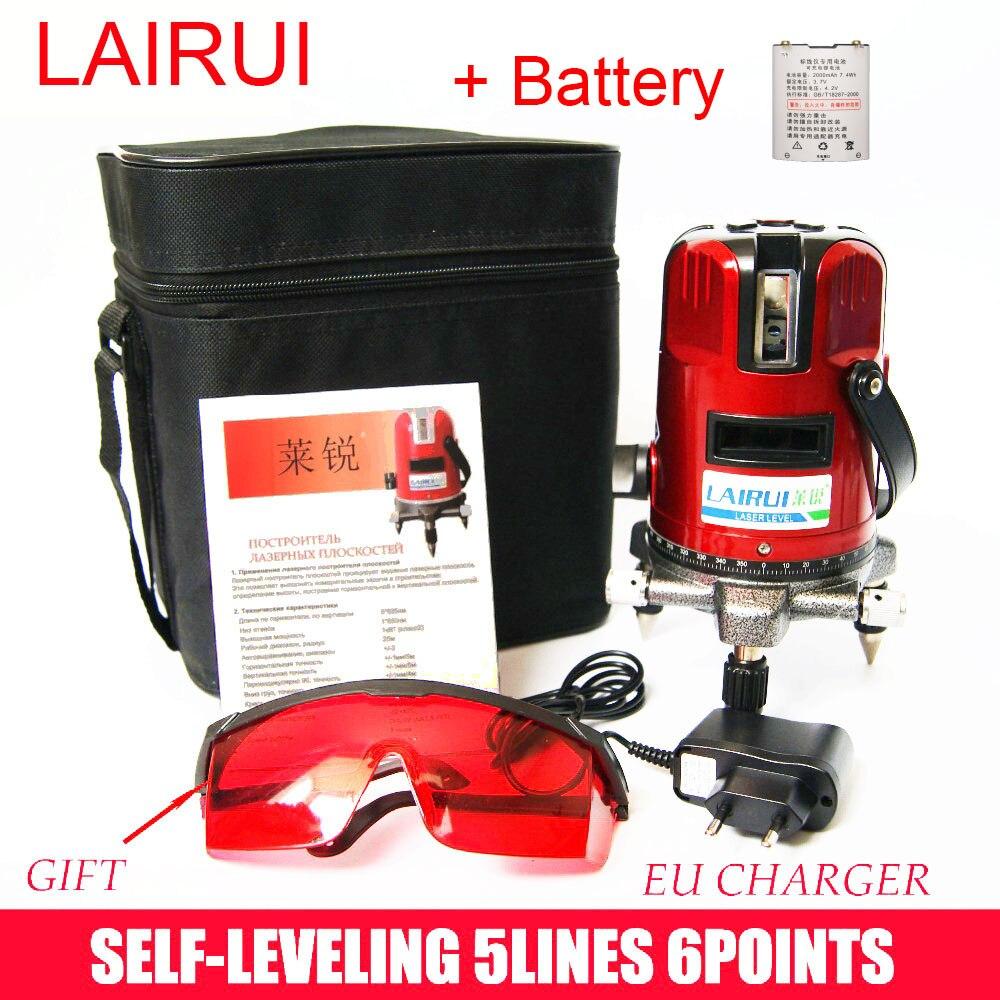 Lairui марка 5 строк 6 очков лазерный уровень 360 град. роторный крест лазерный уровень, С открытый режим и наклона режим бесплатная доставка лазе...