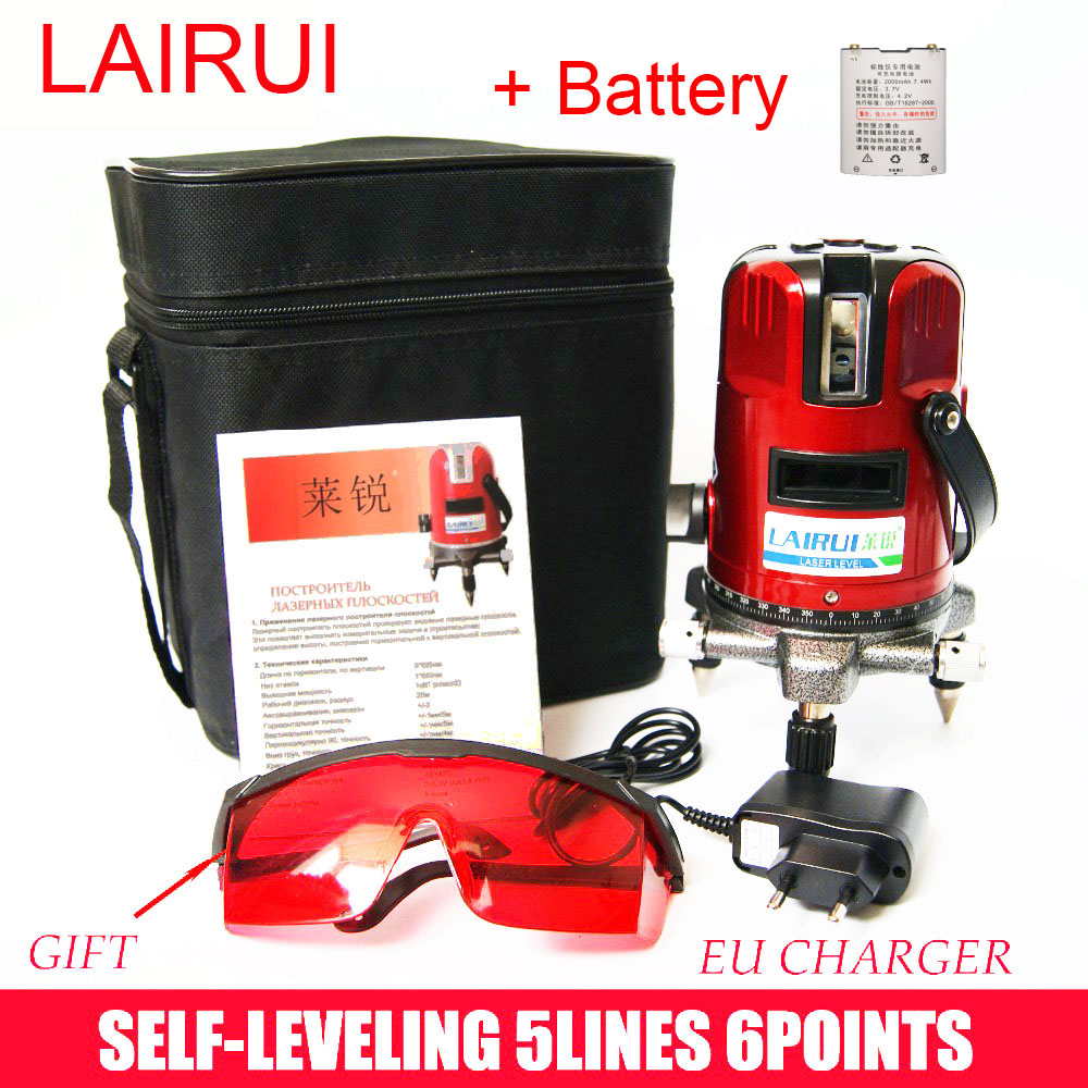 lairui brand 5 lines 6 points laser level 360 degree rotary cross laser line level with outdoor mode with batteries lairui brand 5 lines 6 points laser level 360 degree rotary cross laser line level with tilt slash function and outdoor mode