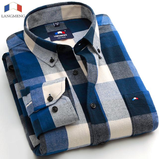 Langmeng 100% hombres camisas de franela de algodón 2016 otoño camisa masculina camisa de hombre de alta calidad ocasionales adelgazan las camisas de vestido