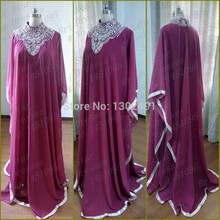 Real Picture 2015 A Line HIgh Neck Purple Prom Dresses Beaded Abaya in Dubai Islamic Clothing for Women Muslim Evening Dress