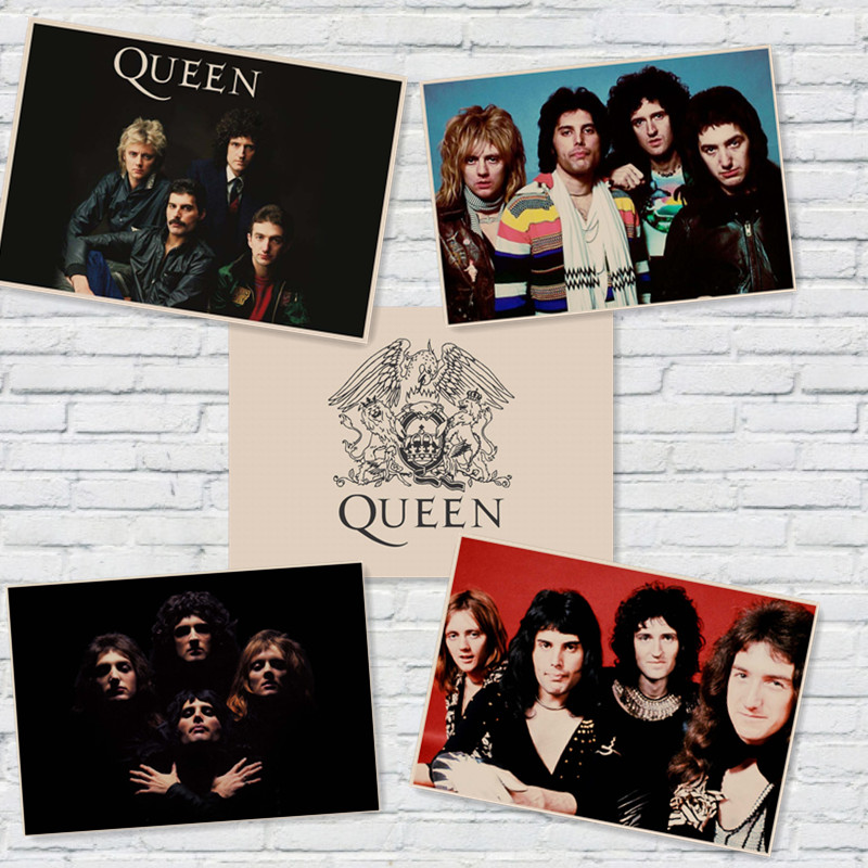 Queen Rock Music Posters Prints Vintage Home Wall Stickers Kraft Paper Cafe Bar Retro Decoration Home Art  Brand MU40
