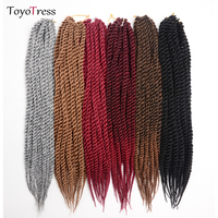 Senegalese Twist Hair Crochet Braiding Synthetic Hair Extensions 12strands/pack 10 30inch Ombre Braids Hair Toyotress Hair