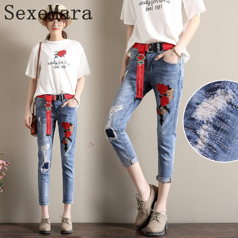 New Summer Vintage Women Ripped Hole Jeans High Waist Floral Embroidery Loose Fashion Ankle Length Women Denim Jeans Harem Pants summer ripped hole jeans ankle length pants women high waist loose vintage harem denim pants plus size casual blue jeans female