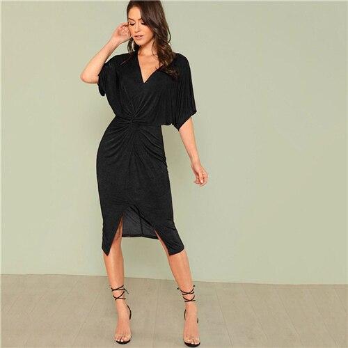 Red V Neck Twist Front Half Sleeve Split Bodycon Dress Autumn Black Midi Party Dress Women Dresses
