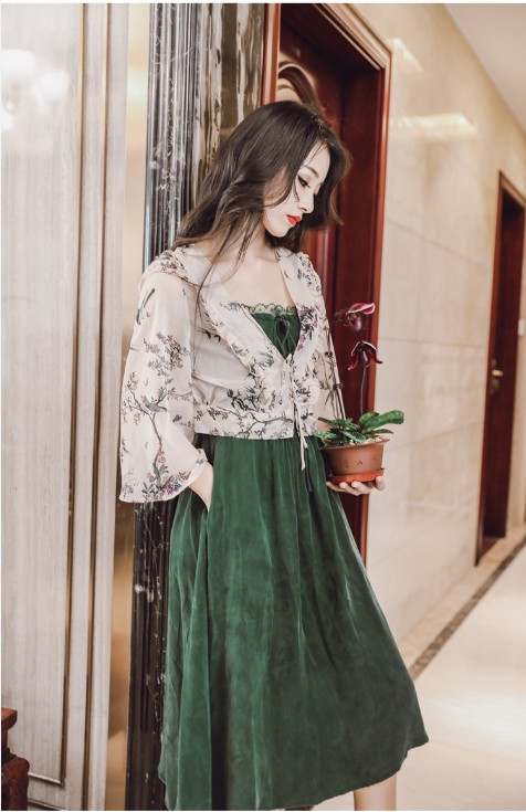 Ubei Новое поступление летнее винтажное кружевное платье без бретелек с шифоновой рубашкой с высокой талией Зеленое Длинное Платье на подтяжках модные комплекты - Цвет: Зеленый
