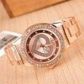 Venta caliente Marca Corazón Imprimir Vestido de Las Mujeres Relojes de Oro Rosa reloj de Pulsera de Acero Inoxidable Reloj de Lujo de Reloj de Cuarzo Ocasional