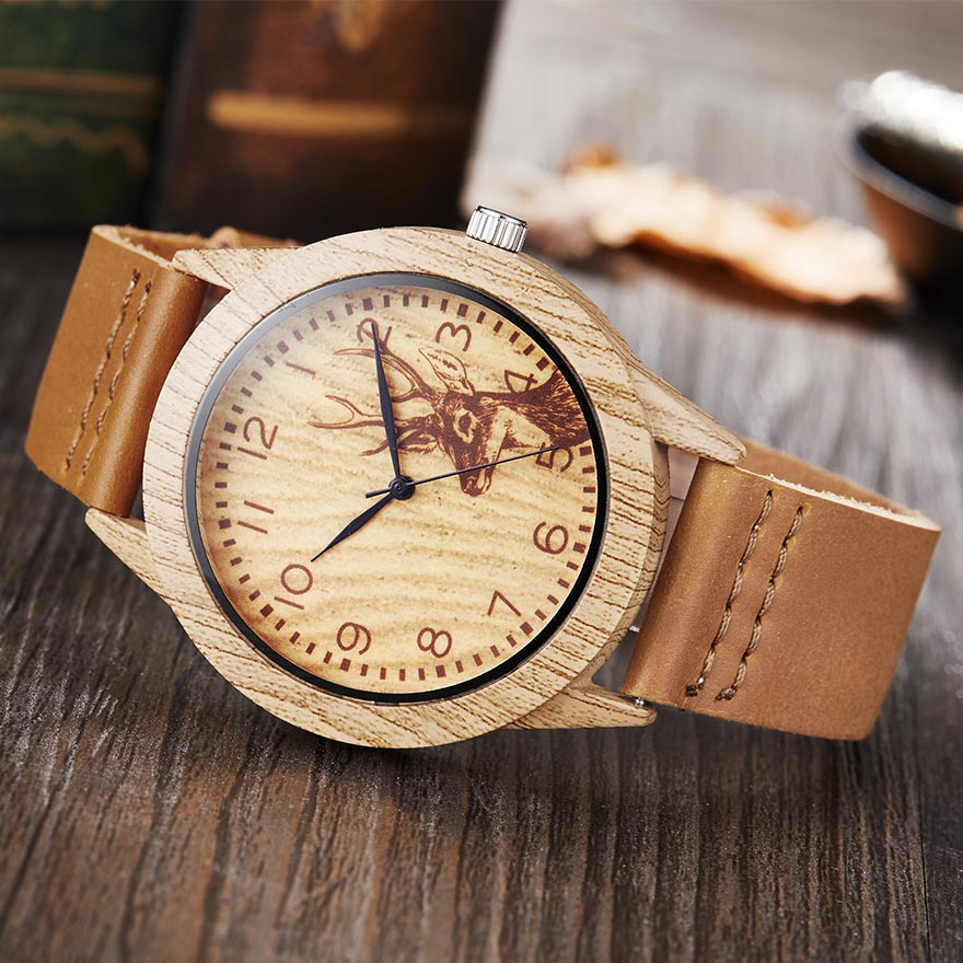 Animal Deer Imitation Wood Watch Men Women Couple Wristwatch Imitate Wooden Watches Acrylic Case Lover Brown Wrist Clock Reloj