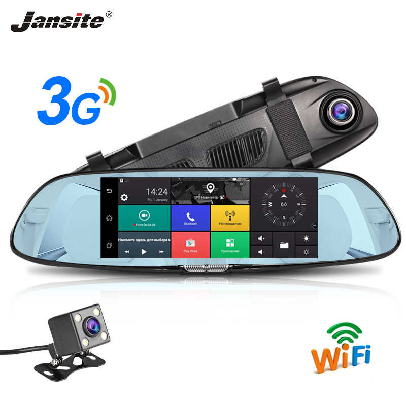 "Jansite 3G 7"" Touch Screen Dash Cam Android 5.0 Car DVR GPS Navigation Car Video Recorder Rear view Camera Mirror G-sensor ADAS"