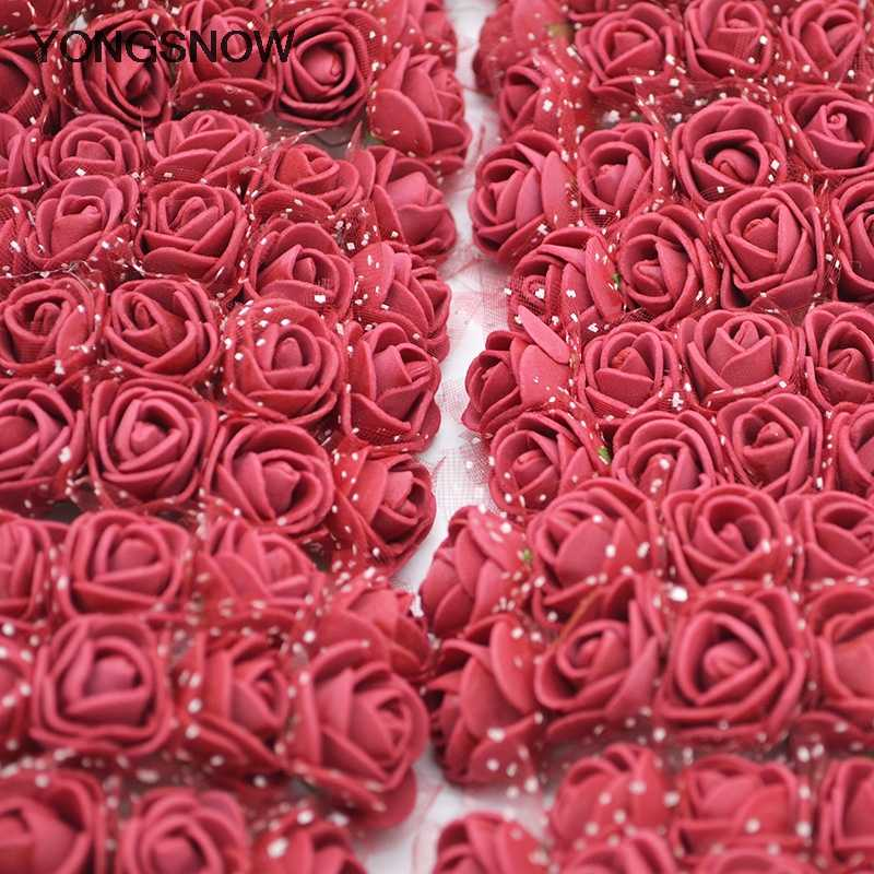 144pcs Mini Teddy Roses PE Foam Rose Flowers for DIY Wreath Decorative Wedding Party Decoration Scrapbook Craft Bear Rose Gifts