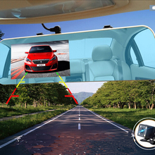 "4.3"" Dual Lens Car Camera Novatek 96650 HD 1080P DVR Blue Review Mirror Digital Video Recorder Navigator Registrator Camcorder"