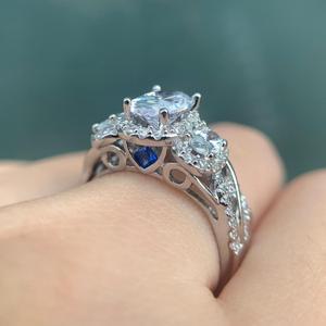 Image 5 - Wuziwen 3.5 Ct Ovale Forma di AAA Zircon 925 Anelli In Argento Sterling Per Le Donne Blu di Cristallo di Cerimonia Nuziale Anello Set di Gioielli Alla Moda regalo