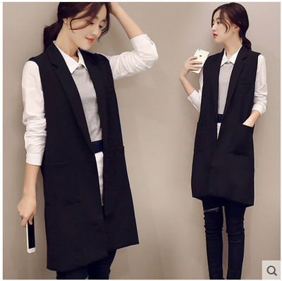 2016 summer new fashion long pockets turn-down collar open stitch sleeveless   black blazer vest jackets