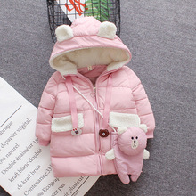 2019 New Girls Autumn Winter Coat Girl Long Sleeve Cotton Padded Jacket for Girls Children Clothes 1-4 Years with Bag Fashion