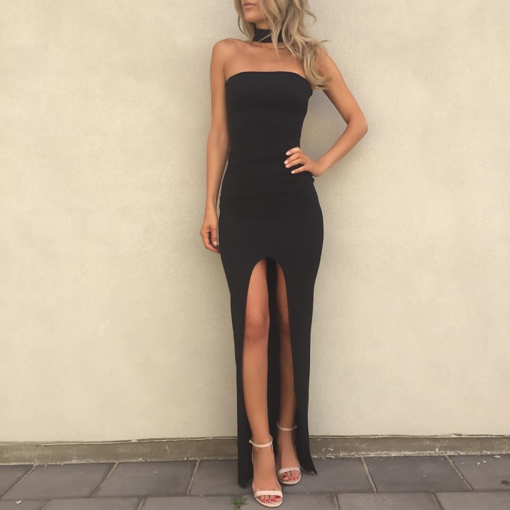 2019 Sexy Long Black Wedding Party Gowns Strapless Sheath Fornt Split Elastic Satin Cheap   Bridesmaid     Dresses   Robe De Soiree