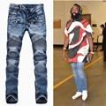 2017 Dos Homens de Jeans de Grife Homens Balmai Preto Afligido Jean Motocicleta Robins Jeans Homme Corredores Slim Fit Skinny Jeans Rasgados Homens