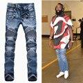 2017 Mens Balmai Jeans Hombres Diseñador Negro Apenada Jean Motocicleta Petirrojos Vaqueros Homme Corredores Flaco Slim Fit Ripped Jeans Hombres