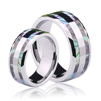 New Arrival Bohemia Style 6mm/8mm Couples' Tungsten Rings Inlay Colorful Mother of Pearl Wave Shape Edge for Wedding, Engagement