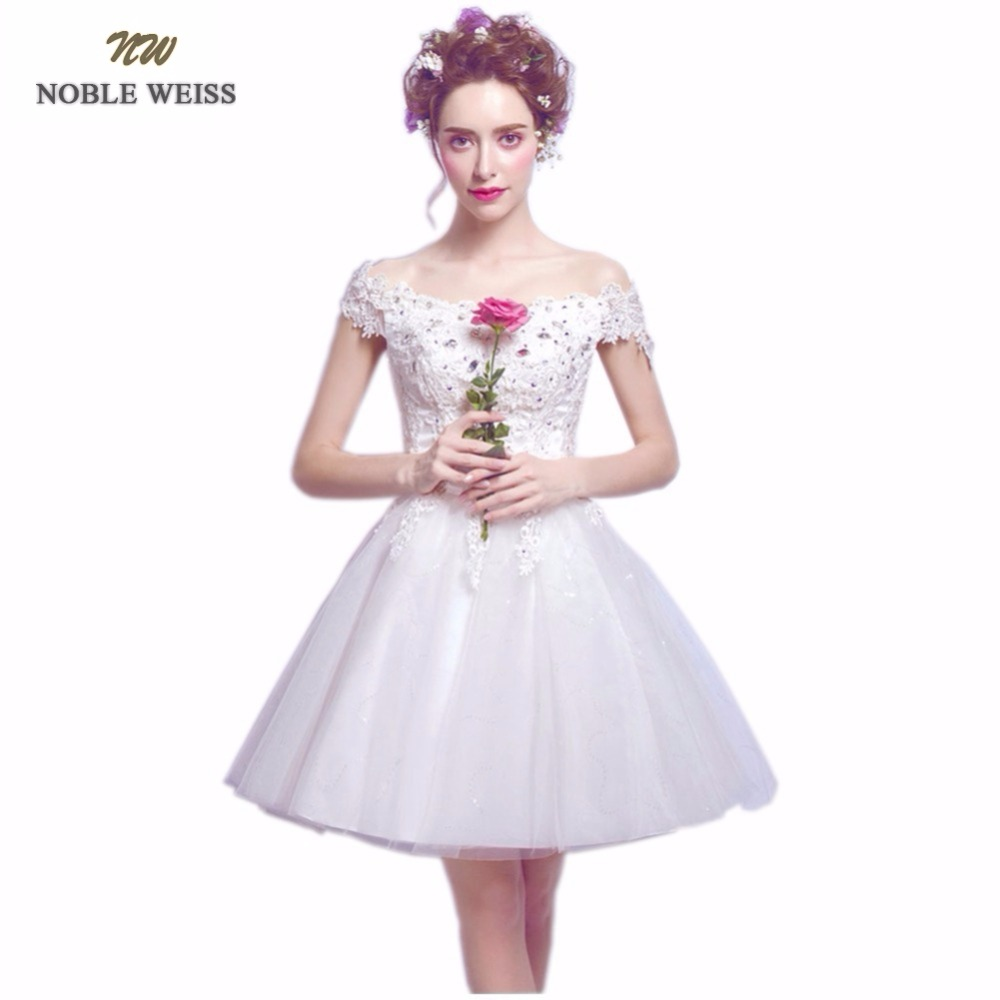 NOBLE WEISS Short   Prom     Dress   High Quality Fashion V-Neck Lace-up Back A-Line Appliques Beading Party Gown   Dresses