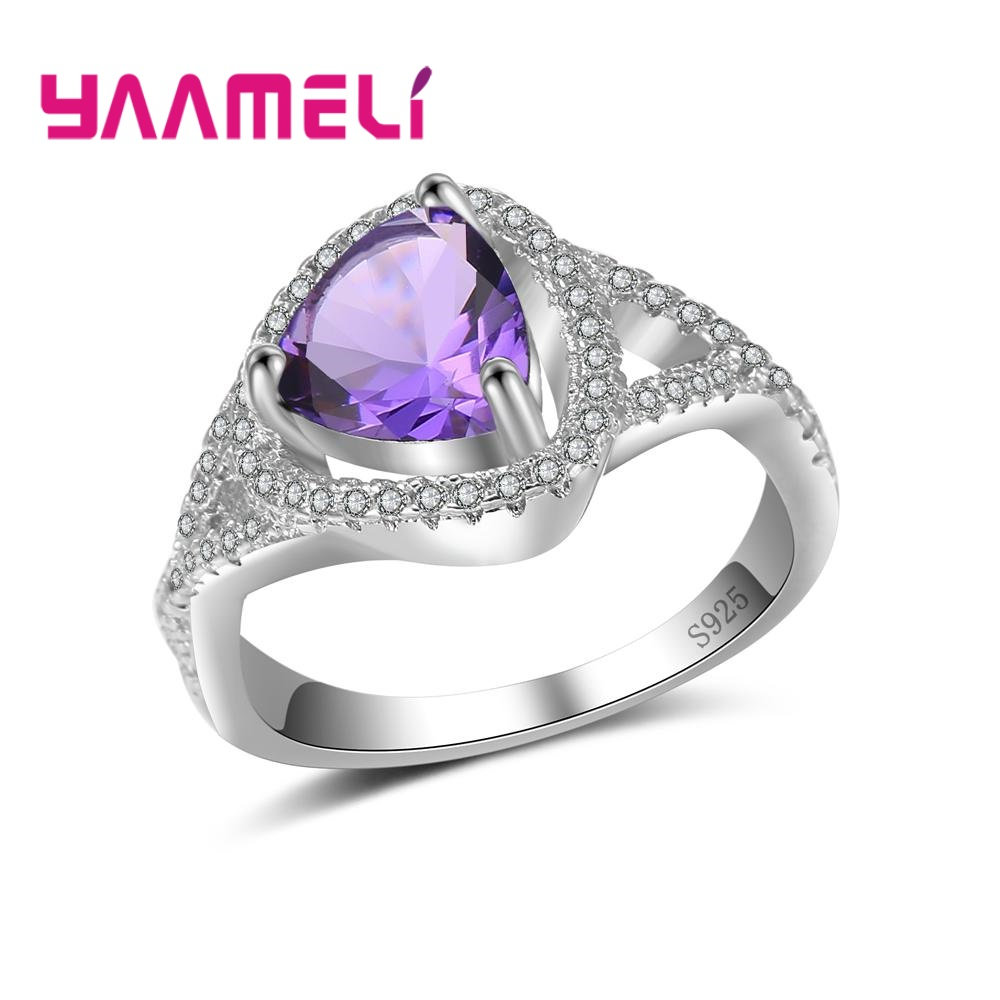 YAAMELI Popular Special Fine 925 Sterling Silver Finger Rings Hard Triangle Cubic Zirconia For Women Female Crystal Jewelry Gift