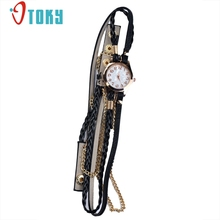 OTOKY aux Leather Strap Braided Rivet Bracelet Watches Quartz Wristwatch for women multilayer watches dress #20 Gift 1pc