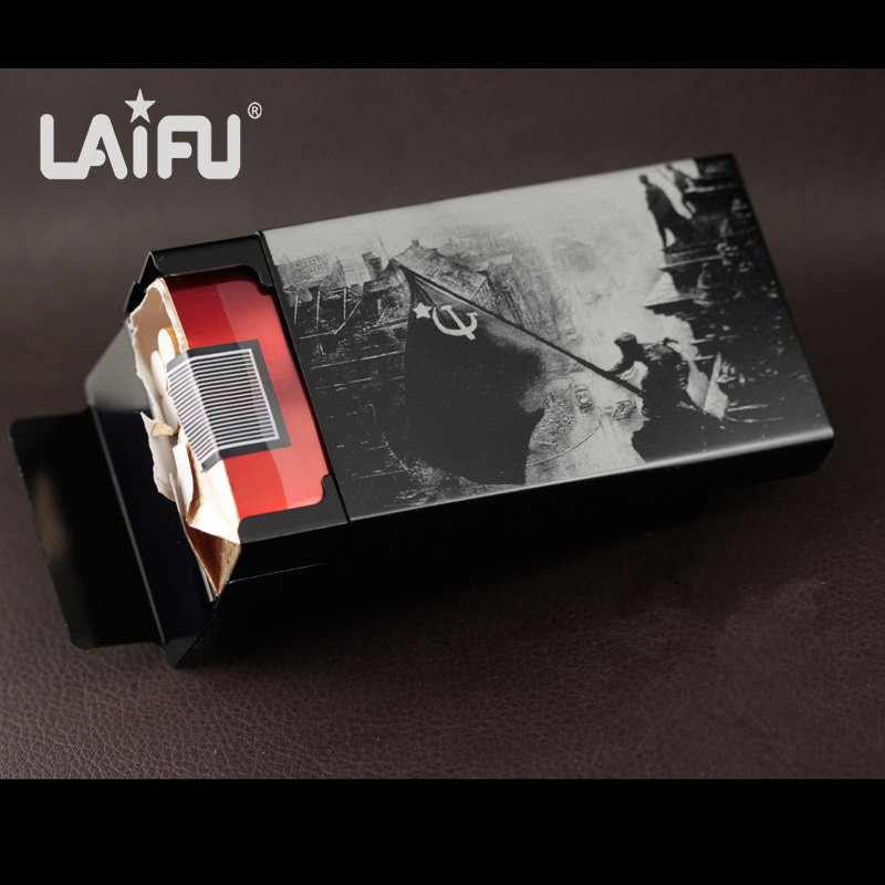 High quality male metal cigarette case aluminium alloy cigarette boxes world war 2 series Capture Berlin laser designed forever