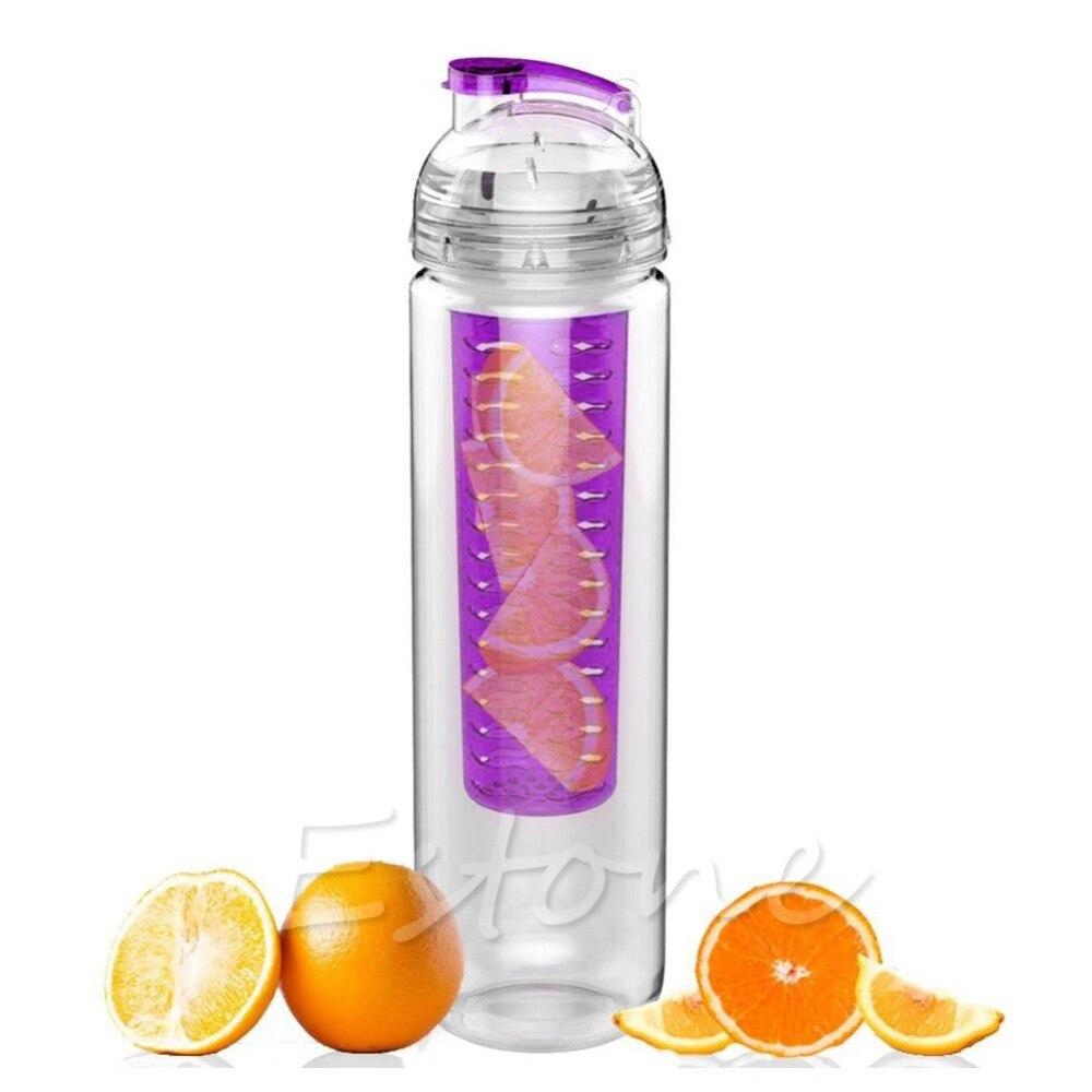 Flip Lid Fruit Lemon Juice Filter Hot Infusing Infuser Detox Water Health Bottle